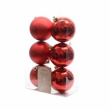 Kerstboom versiering kerstballen mix rood 12 stuks