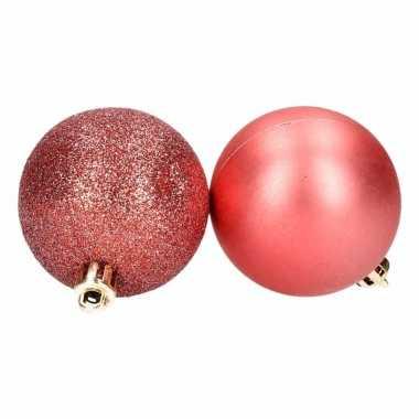 Kerstboom versiering kerstballen mix rood 8 stuks type 1