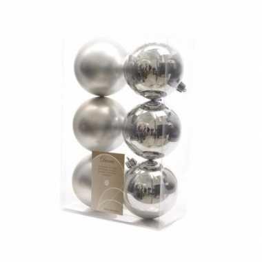Kerstboom versiering kerstballen mix zilver 12 stuks