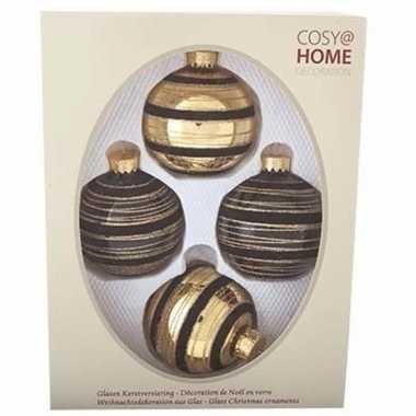 Kerstboom versiering kerstballen mix zwart goud 4 stuks for Goud zwart versiering