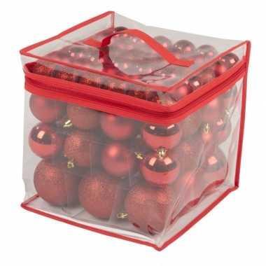 Kerstboom versiering kerstballen rood 77 stuks 4 / 6 / 8 cm