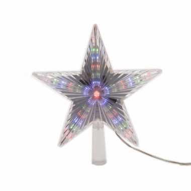 Kerstboom versiering led ster piek gekleurd 22 cm