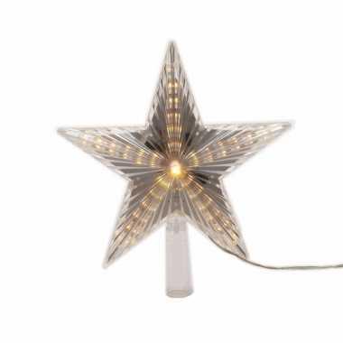 Kerstboom versiering led ster piek warm wit 22 cm