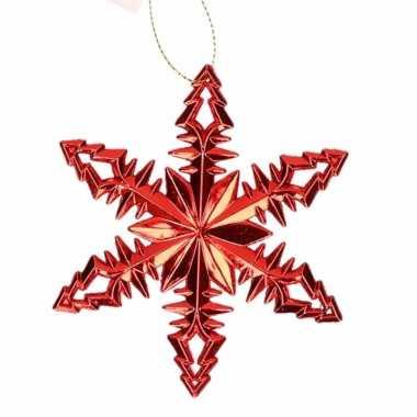 Kerstboom versiering rode sneeuwvlok hanger type 2 10 cm