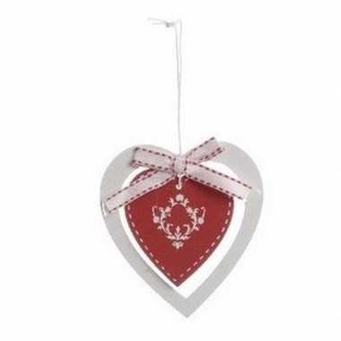 Kerstboom versiering rood hart 10 cm