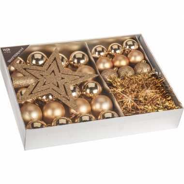 Kerstboom versiering set 33 delig goud for Versiering goud