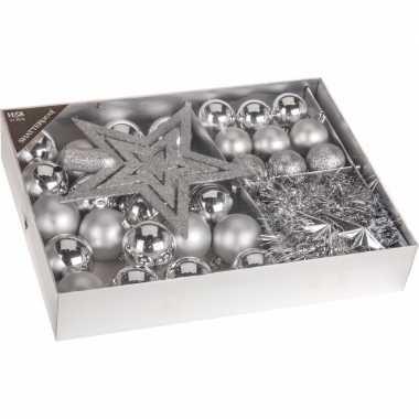 Kerstboom versiering set 33 delig zilver