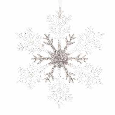Kerstboom versiering sneeuwvlok 21 cm transparant zilver