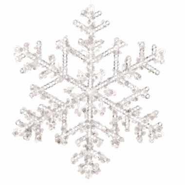 Kerstboom versiering sneeuwvlok hanger 18 cm transparant
