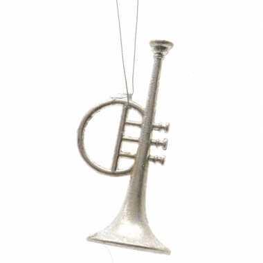 Kerstboom versiering trompet 13 cm zilver