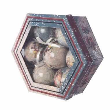 Kerstboom versiering vintage kerstballen cadeaubox 7 stuks 7 5 cm