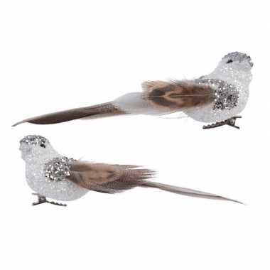 Kerstboom versiering vogel met glitters op clip 13 cm ass 2x