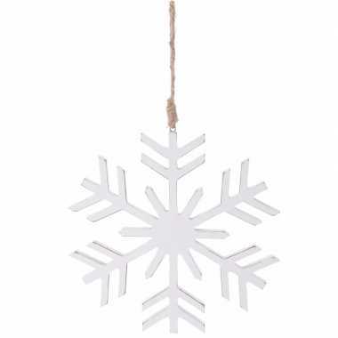 Kerstboom versiering witte sneeuwvlok hanger 20 cm