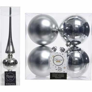 Kerstboom versiering zilver piek en 4x kerstballen 10 cm