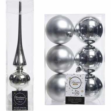 Kerstboom versiering zilver piek en 6x kerstballen 8 cm