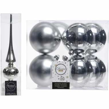 Kerstboom versiering zilver piek en 8x kerstballen 10 cm