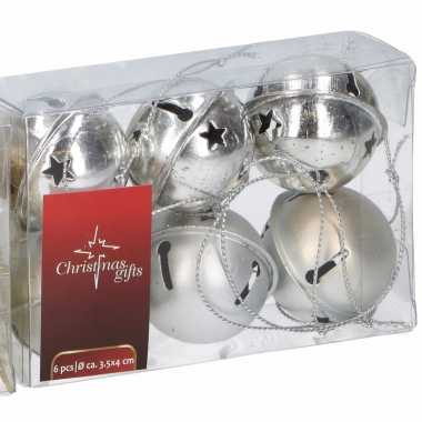 Kerstboom versiering zilveren kerstbellen 6 stuks