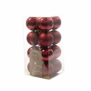 Kerstboomversiering donekr rode ballen 4 cm