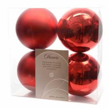 Kerstboomversiering rode ballen 10 cm