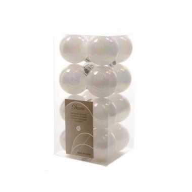 Kerstboomversiering witte ballen 4 cm