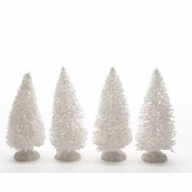 Kerstdorp maken besneeuwde versiering dennenbomen 4 stuks 10 cm
