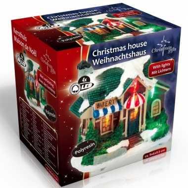 Kersthuisje bakkerij led kerst versiering 9 x 6 x 9 cm
