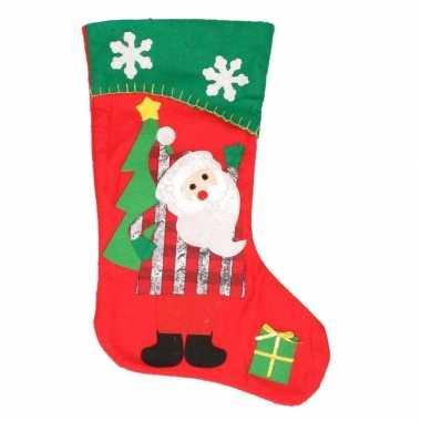 Kerstsok kerstman rood/groen 45 cm versiering/versiering