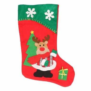 Kerstsok rendier rood/groen 45 cm versiering/versiering