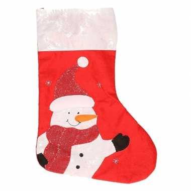 Kerstsok sneeuwpop rood 45 cm versiering/versiering
