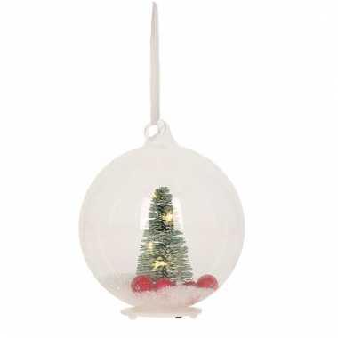 Kerstversiering doorzichtige bal met sneeuw 10 cm