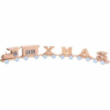 Kerstversiering houten letter trein xmas 46 cm kersttreinen