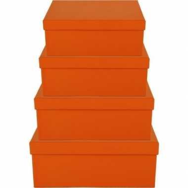 Kerstversiering kadodoosje/cadeaudoosje oranje 8 cm