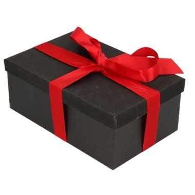 Kerstversiering kadodoosje/cadeaudoosje zwart/glitter 15 cm en rood l