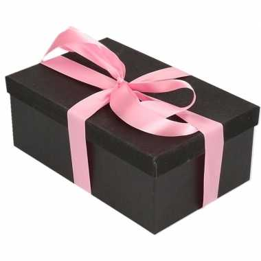 Kerstversiering kadodoosje/cadeaudoosje zwart/glitter 15 cm en roze l