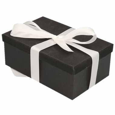 Kerstversiering kadodoosje/cadeaudoosje zwart/glitter 15 cm en wit li
