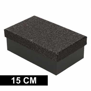 Kerstversiering kadodoosje/cadeaudoosje zwart/glitter 15 cm