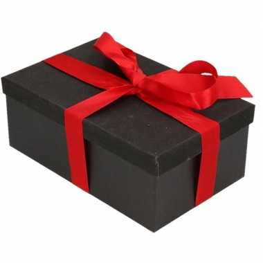 Kerstversiering kadodoosje/cadeaudoosje zwart/glitter 17 cm