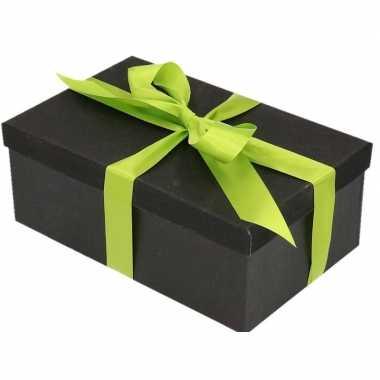 Kerstversiering kadodoosje/cadeaudoosje zwart/glitter 17 cm en lichtg