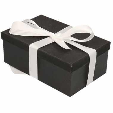 Kerstversiering kadodoosje/cadeaudoosje zwart/glitter 17 cm en wit li