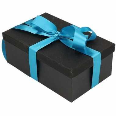Kerstversiering kadodoosje/cadeaudoosje zwart/glitter 17 cm met turqo