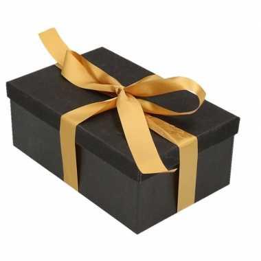 Kerstversiering kadodoosje/cadeaudoosje zwart/glitter 19 cm