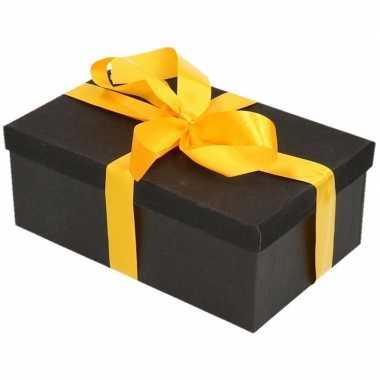 Kerstversiering kadodoosje/cadeaudoosje zwart/glitter 22 cm en geel l