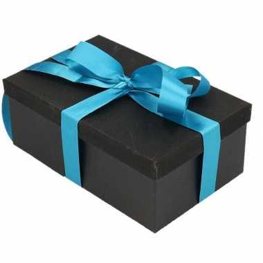 Kerstversiering kadodoosje/cadeaudoosje zwart/glitter 22 cm en turquo