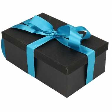 Kerstversiering kadodoosje/cadeaudoosje zwart/glitter 7 cm en blauw l