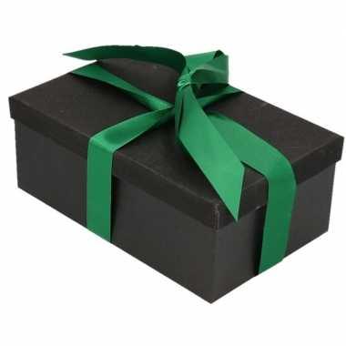 Kerstversiering kadodoosje/cadeaudoosje zwart/glitter 7 cm en donkerg