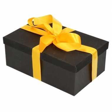 Kerstversiering kadodoosje/cadeaudoosje zwart/glitter 7 cm en geel li