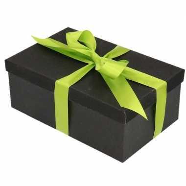 Kerstversiering kadodoosje/cadeaudoosje zwart/glitter 7 cm en lichtgr