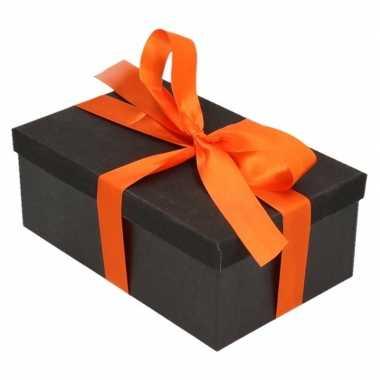 Kerstversiering kadodoosje/cadeaudoosje zwart/glitter 7 cm met oranje