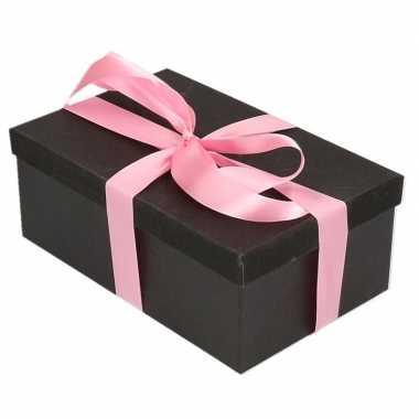 Kerstversiering kadodoosje/cadeaudoosje zwart/glitter 7 cm met roze l