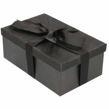 Kerstversiering kadodoosje/cadeaudoosje zwart/glitter 7 cm met zwart